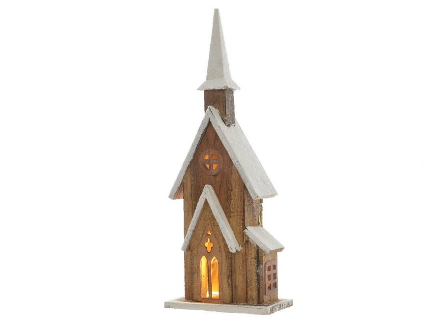 Firwood Church With Led'S In Natural & White - Warm White - 11X19X50 cm-5L