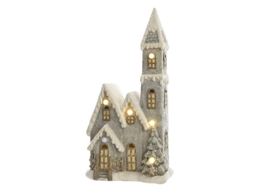 Christmas Church With Led'S - Warm White - 20X32X61 cm