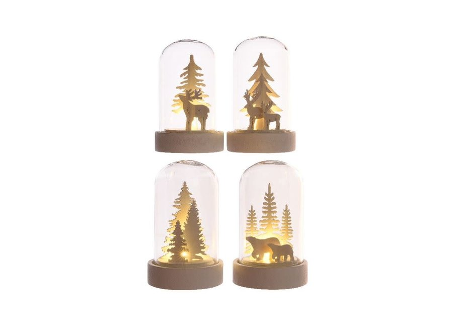 Christmas Scenery In Cloche With Led'S - Warm White - 5.5X5.5X9 cm