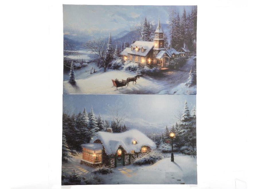 Led Winer Landscapes 2 Assorted Canvasses 30X40 cm - Warm White - 1.5X30X40 cm-5L