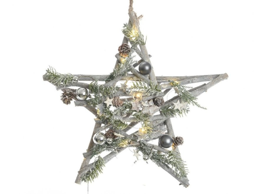 Hanging Star With Decorations & Led'S -10L - Green/Colour(S) - 40X40X8 cm-10L