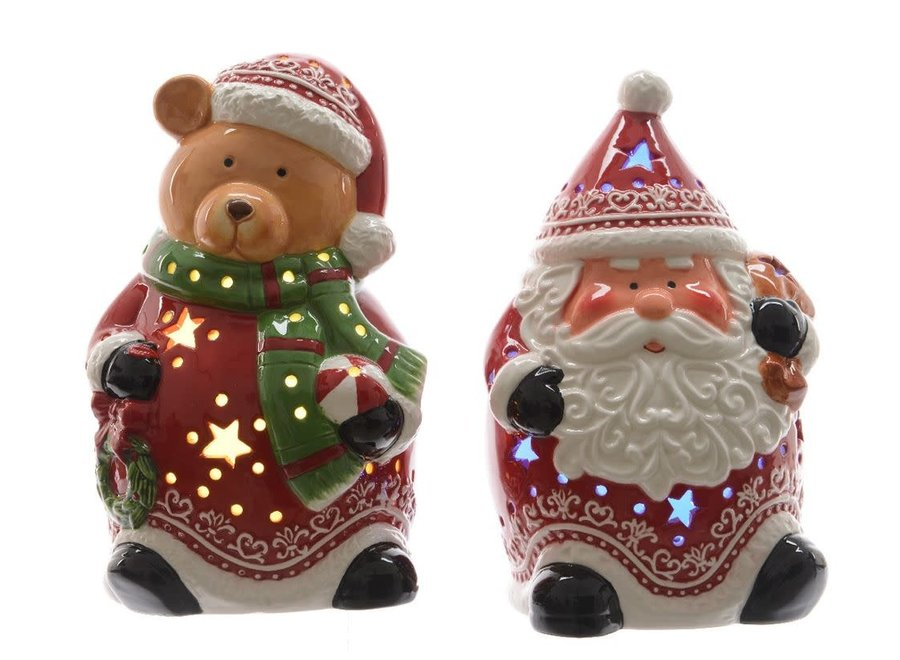 Ceramic Santa Or Snowman With Led'S - Red/Colour(S) - 12.6X12X19.8 cm 11.4X20 cm
