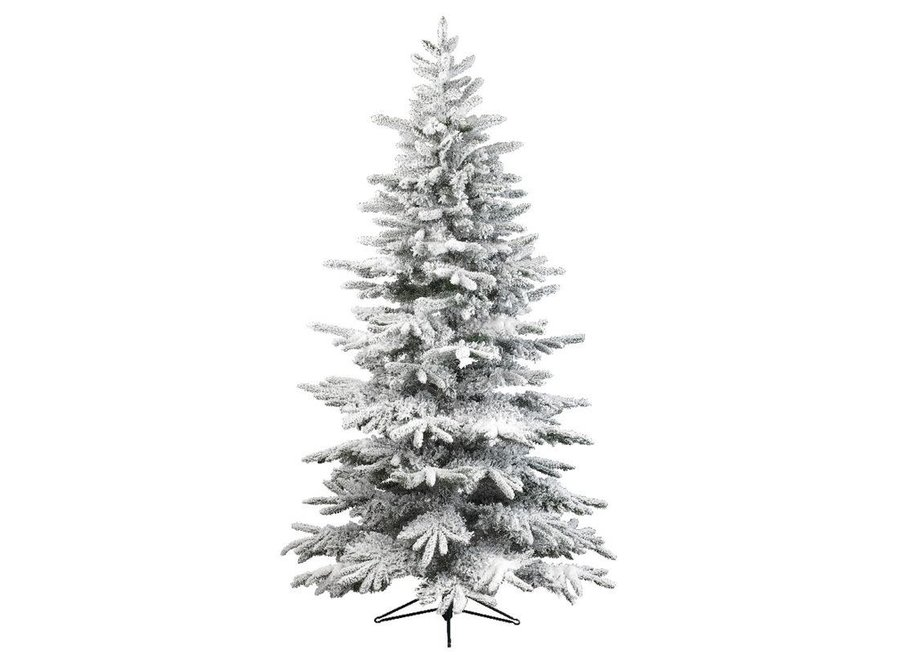 Snowy Alaskan Fir Christmas Tree 300 cm (10Ft) - Green/White - 300 cm