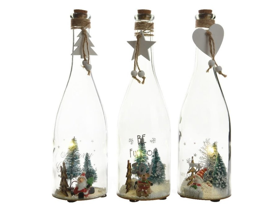 Glass Bottle With Assorted Scenes With Led'S - White - Dia8.5X29 cm