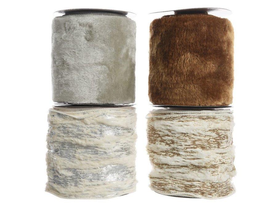 Fur Ribbon In Brown, Grey, Copper Or Silver 270 cm - Assorted - 12.8X270 cm