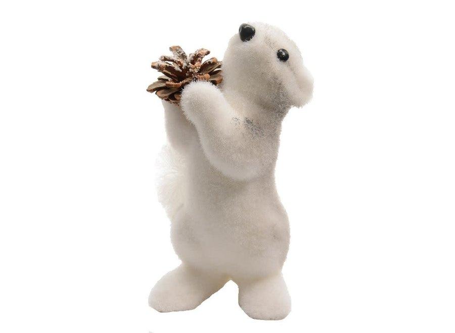 Foam Squirrel With Pinecone - Small - Silver - 13X15X19 cm