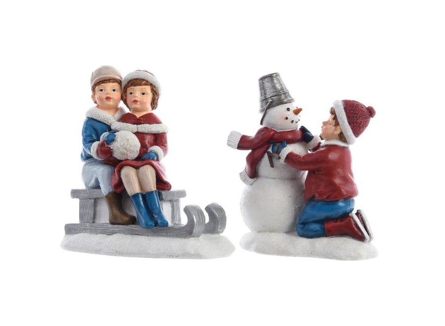Child With Snowman Or On A Sleigh In Blue & Red - Multi - Assorted