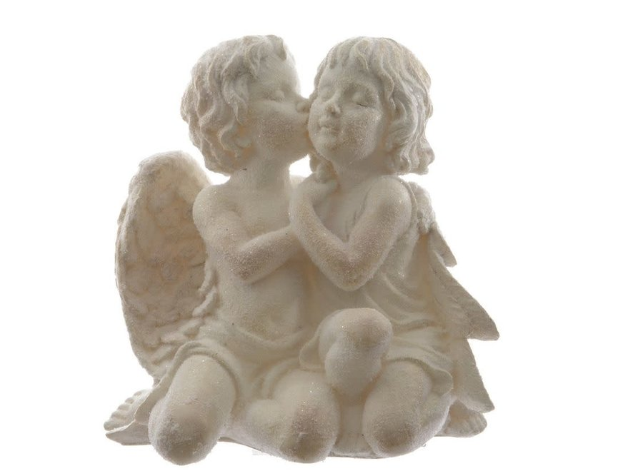 Angel Couple Kissing - Cream - 37X24X39 cm