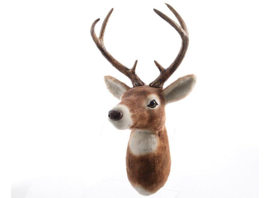 Fur Reindeer Head In Brown - 25X25X50 cm