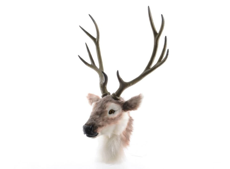 Deer Head With Antlers In Brown & White - Brown/Warm White - 75X35 cm