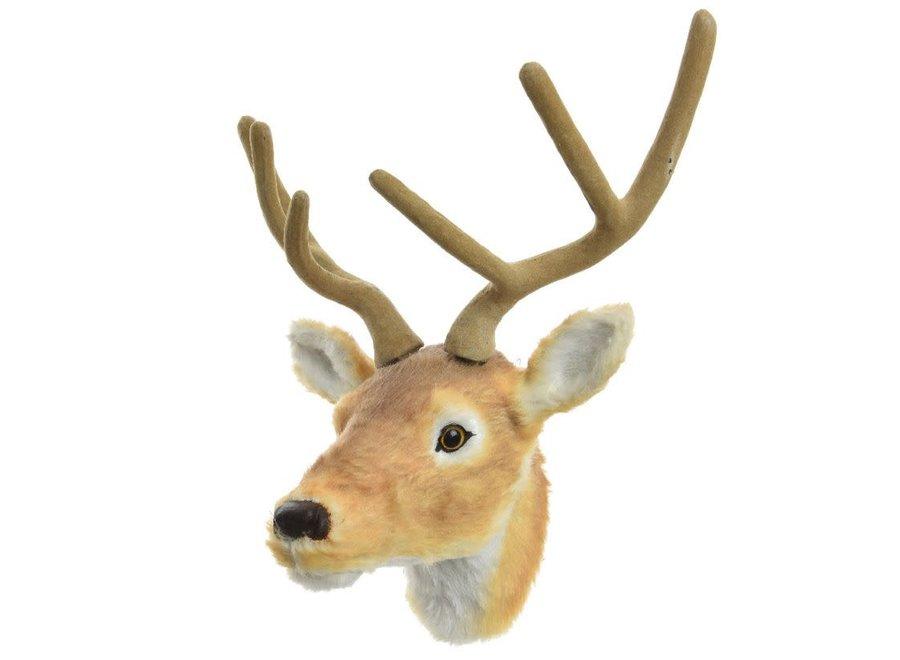 Fur Reindeer Head - Wall Trophy - Brown - 28X45X22 cm