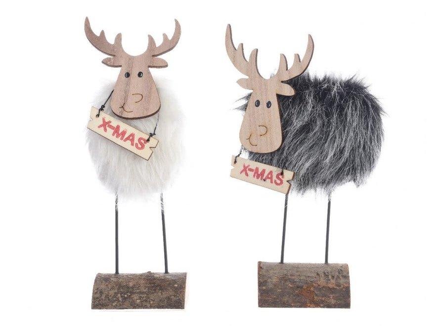 Grey Or White Reindeer On Pinewood Base - Assorted - 8X3.5X25 cm