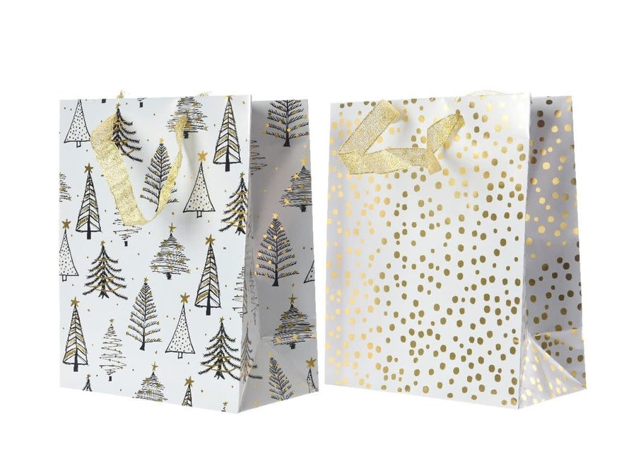 Gift Bag With Tree Or Dot In White & Gold - White/Gold - 11X20X25 cm
