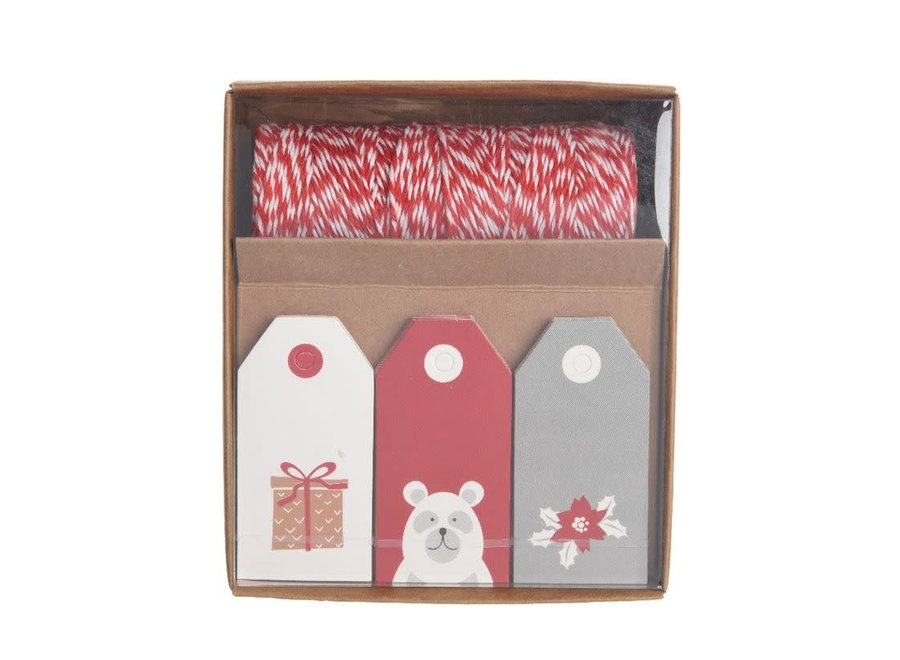 Gift Tags With Rope In Red & White - Red/White - 4.5X10.5X13 cm
