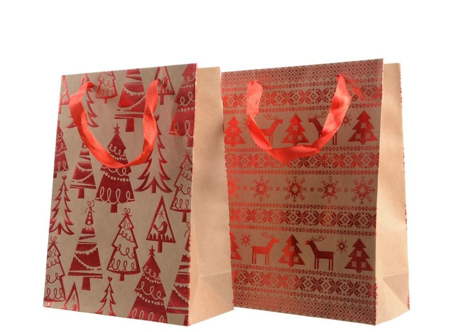 Gift Bag With Trees Or Snowflake & Deer Design - Brown/Colour(S) - 10X26X32 cm