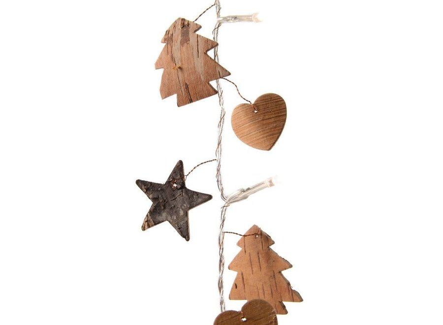 Birch Bark Garland With Led Lights 190 cm - Transparent/Warm White - 190 cm-20L
