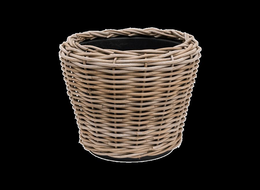 Drypot Round Rattan Grey D42H44Cm