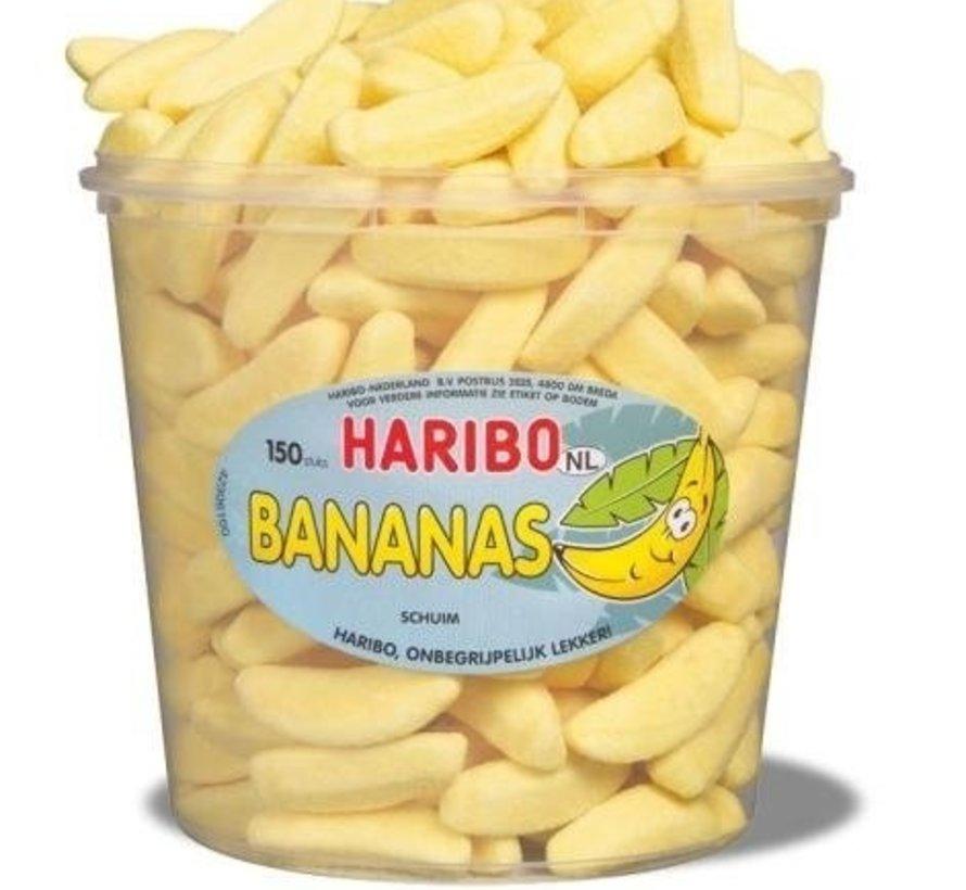 Schuim Bananen Haribo Silo 150 Stuks