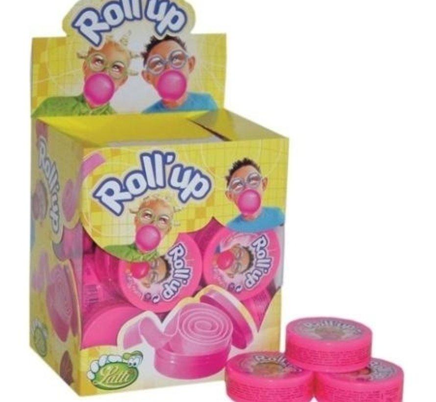 Lutti  Roll Up Kauwgom Tutti Frutti Roze- Doos 24 Stuks