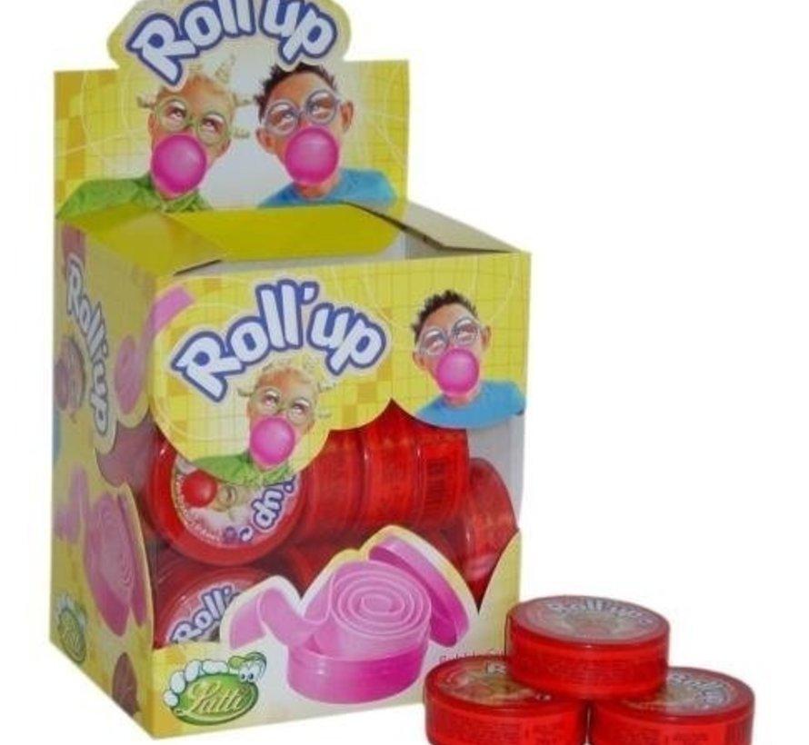 Lutti Roll Up Kauwgom Aardbei Rood -Doos 24 Stuks