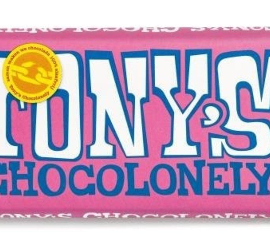 Tony'S Chocolonely Wit Framboos Knettersnoep Doos 15 Stuks