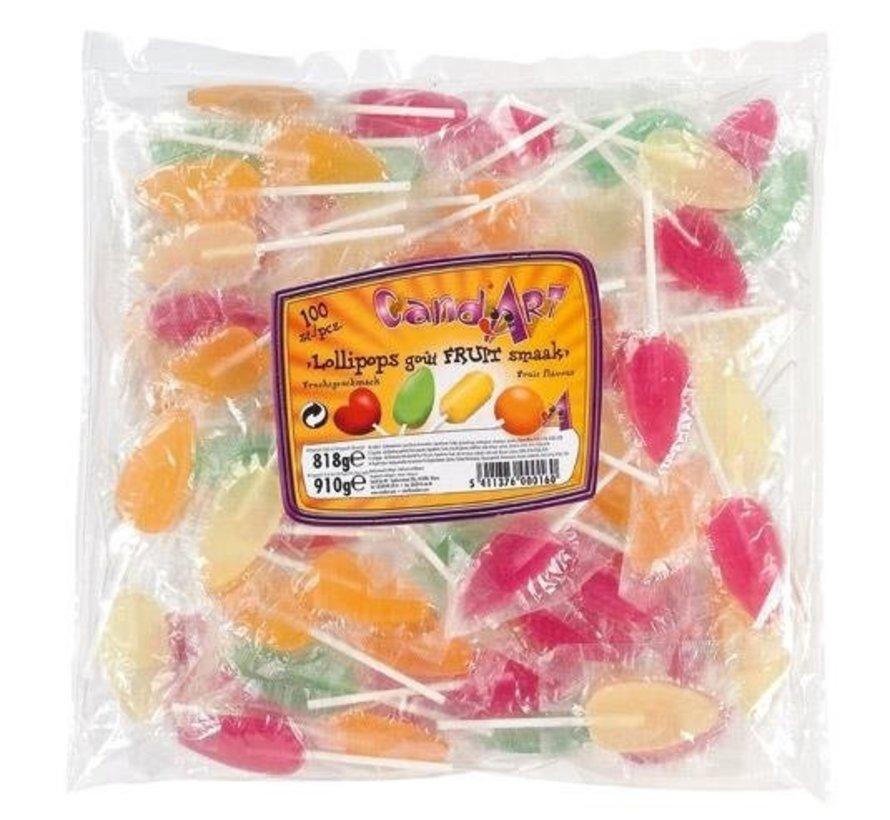 Tong Lollies  Met Fruit Smaak  Zak 100St