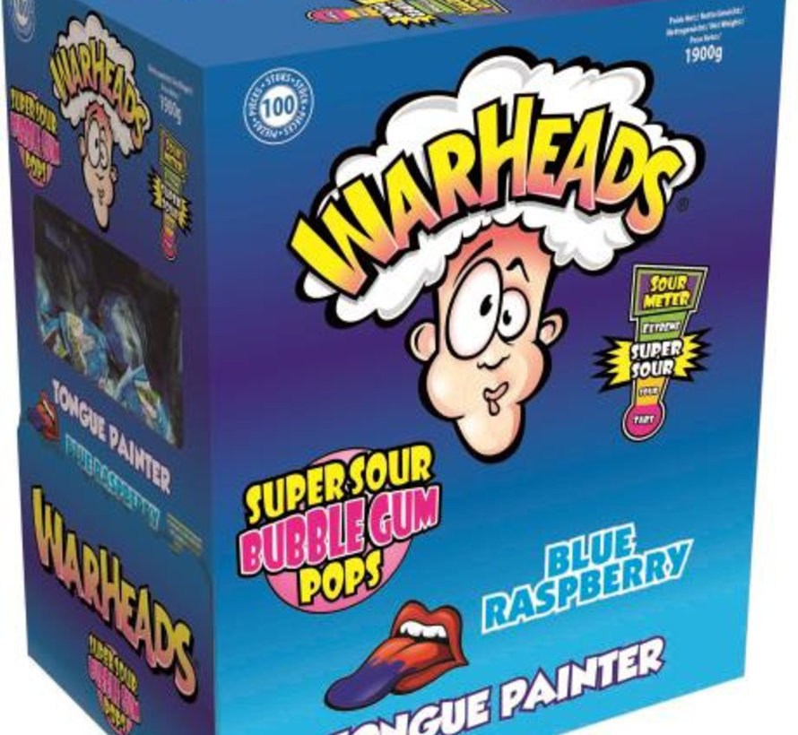 Warhead Lollies Blue Raspberry Doos 100 Stuks