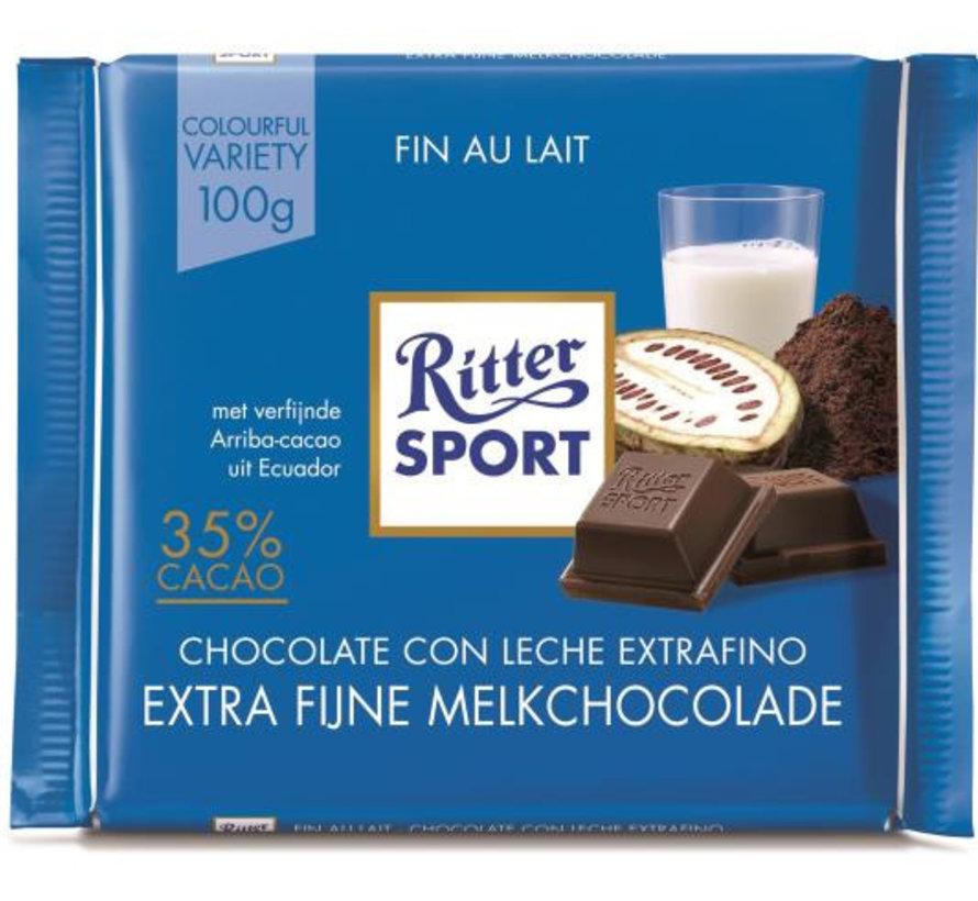 Ritter Sport Extra Fine Milk Chocolade 35% Doos 12X 100Gr