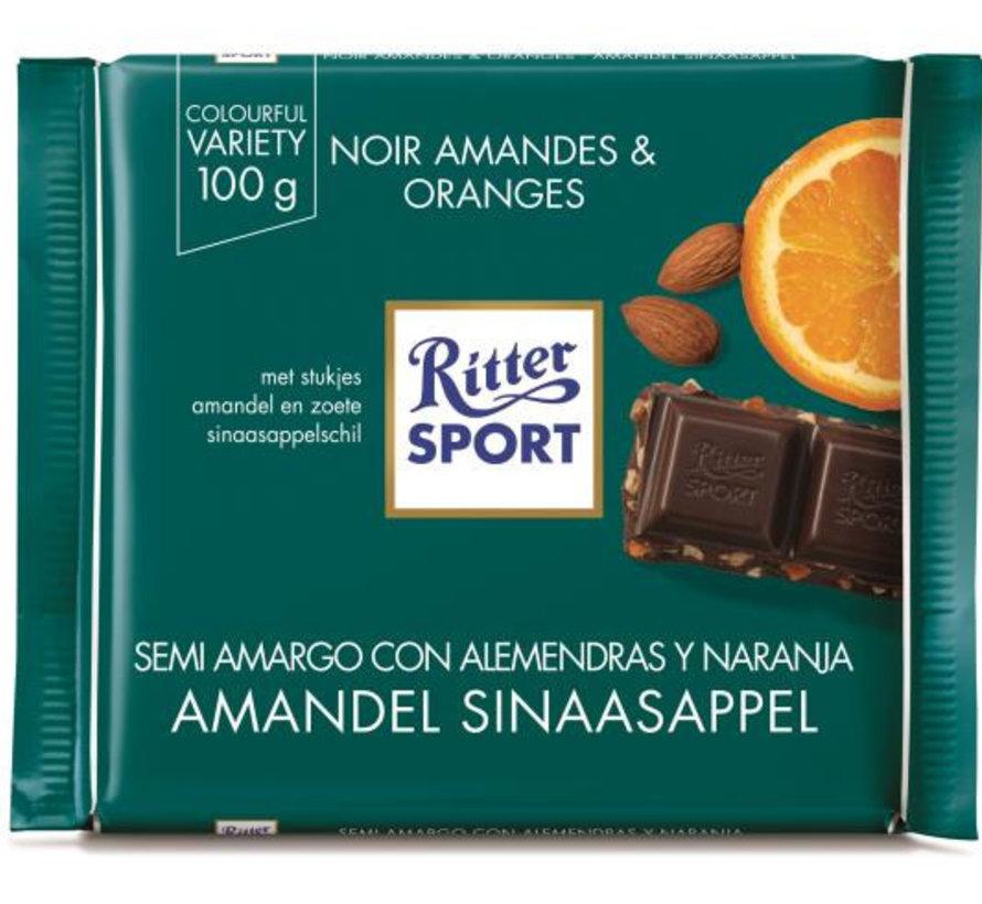 Ritter Sport Puur Chocolade Amandel Sinaasappel-Doos 12X 100Gr