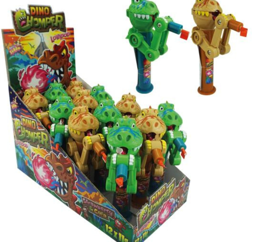 Dino Chomper Met Lolly -Doos 12 Stuks
