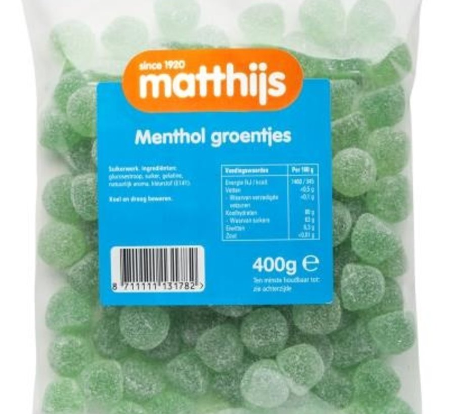 400gr Menthol groentjes -Doos 20 stuks