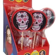 Holland Foodz Ronde Lolly Skull Roze - 100 gram -inhoud 17 stuks
