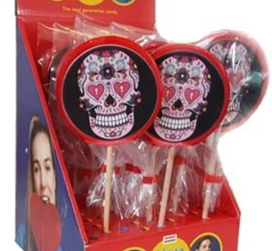 Ronde Lolly Skull Roze-100 gram - inhoud 17 stuks