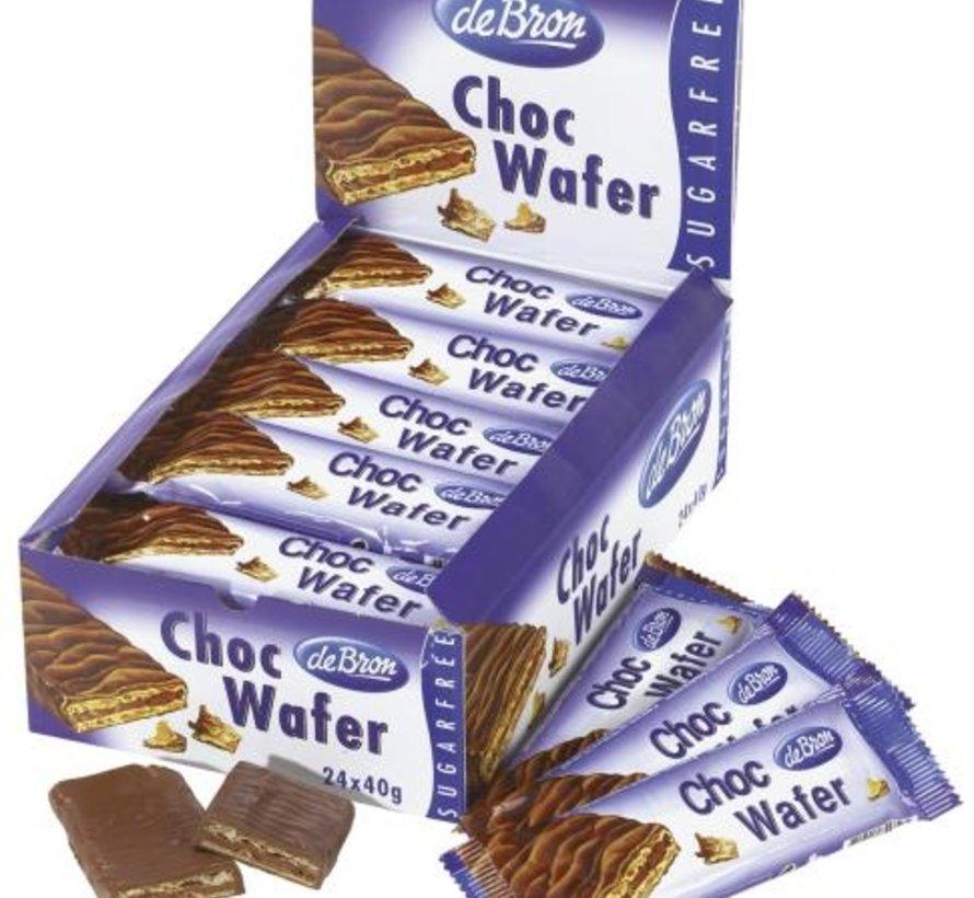 Suikervrij Chocolade wafer -Doos 24 stuks