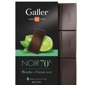 Galler Chocolade Puur Mint Citroen 70% Tablet -Doos 10 stuks