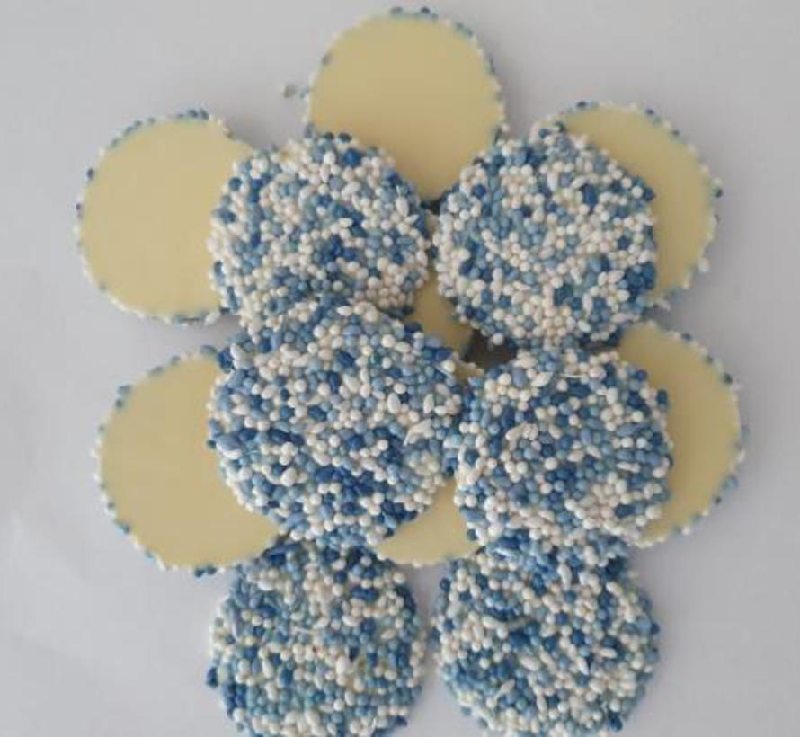Geboorte Flik Witte chocolade Blauw -Doos 5 kilo