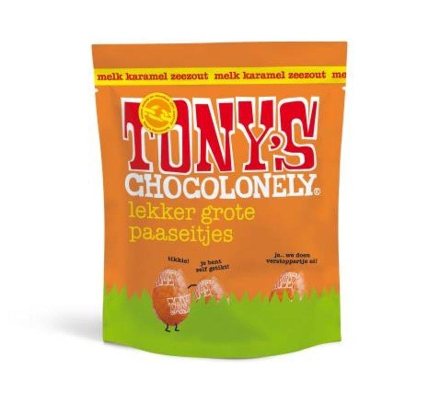 Tony's Chocolonely Paaseitjes Karamel Zeezout -Doos 24 stuks
