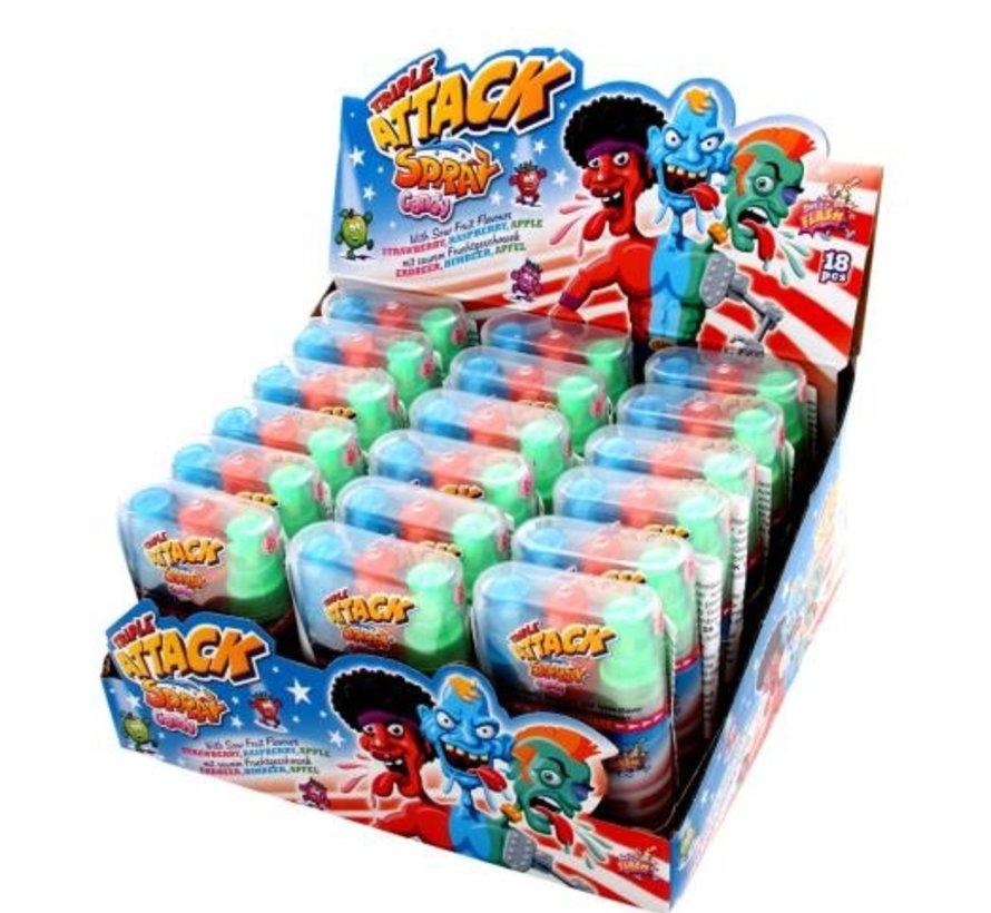 Triple Attack Candy Spray -Doos 18 stuks