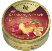 Cavendish & Harvey Raspberry & Peach Drops -Doos 9 blikken