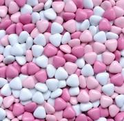 Baby Roze Chocolade Dragee Hartjes -silo 900 Gram