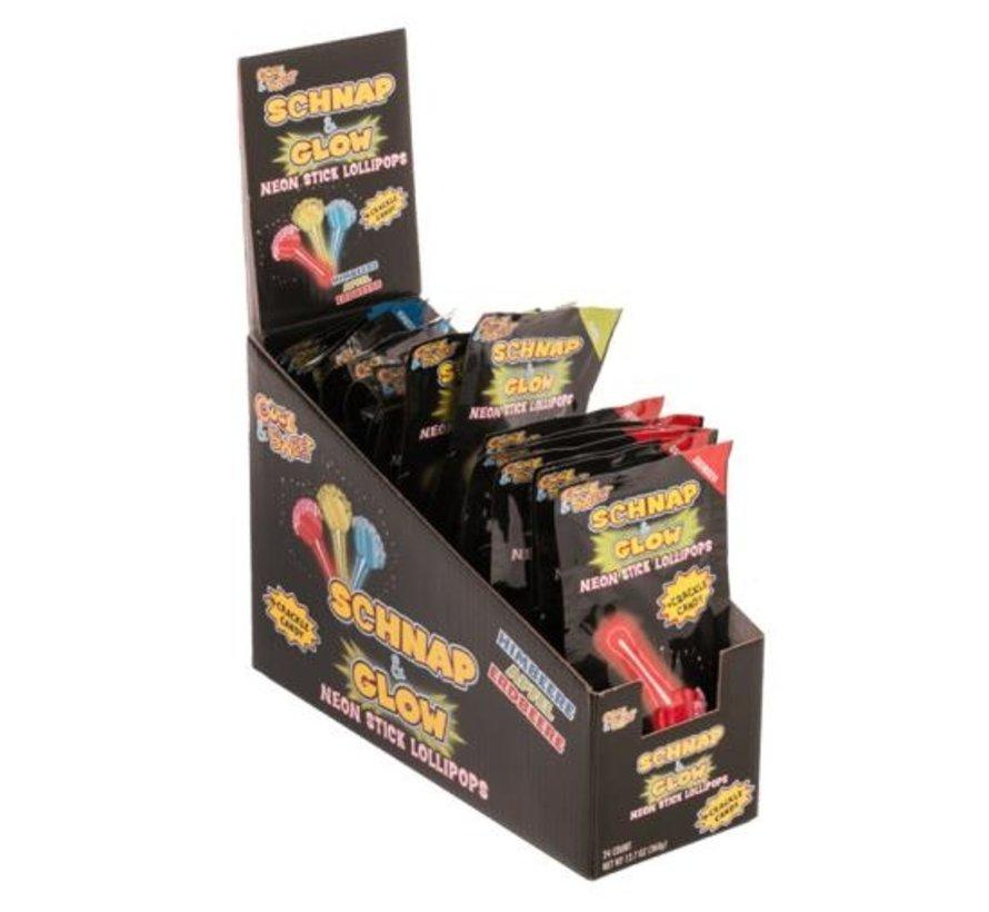 Neon Stick knetter dip lollypops - 24 stuks