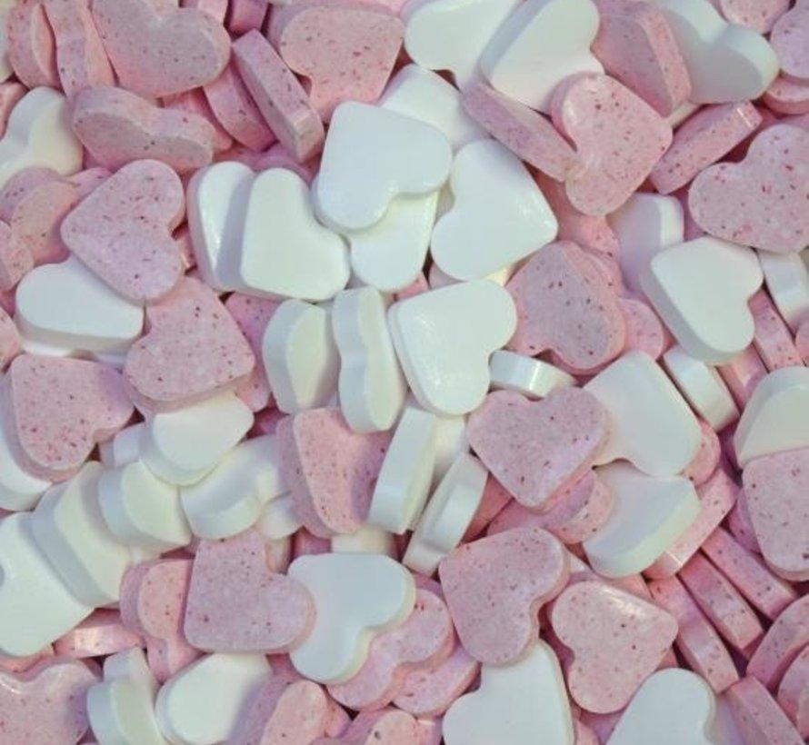 Roze Wit Dextrose Hartjes - 1 Kilo