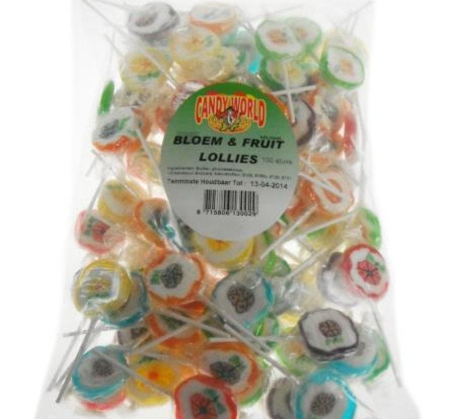 Rock Lollies Bloem En Fruit- 100 Stuks