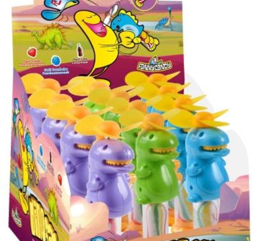 Dino Fan -Ventilator met lolly -Doos 12 stuks