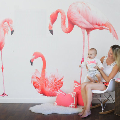 Muurstickers Flamingo's