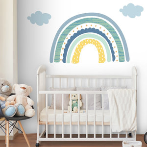 Daring Walls Muursticker Rainbow with clouds - blue