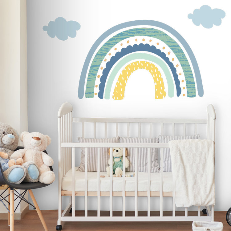 Daring Walls Muursticker Rainbow with clouds - blue