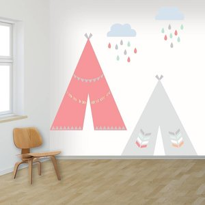 Daring Walls Muursticker Tipi's girls M