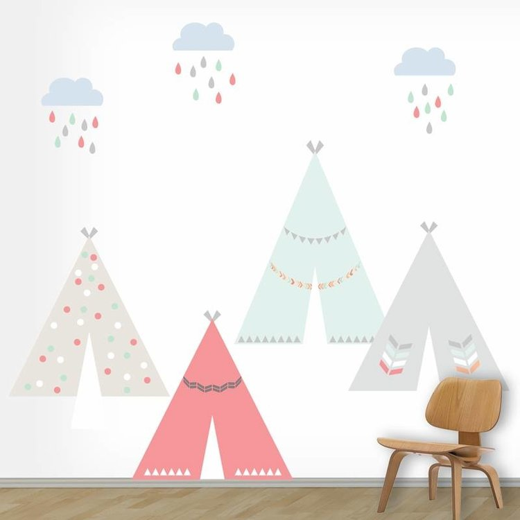 Daring Walls Muursticker Tipi's girls L