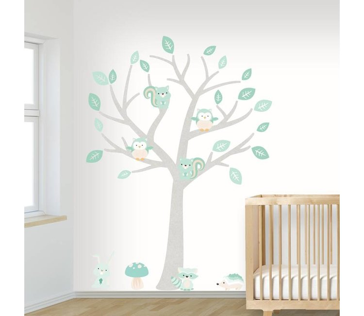 Baby Stickers Voor Op De Muur.Muursticker Boom Baby Woodland Mint